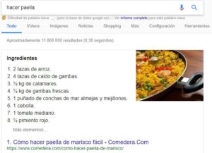 Tipo de featured snippet