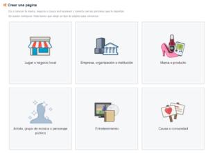 Crear página empresa Facebook
