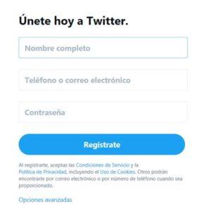 Registro en Twitter