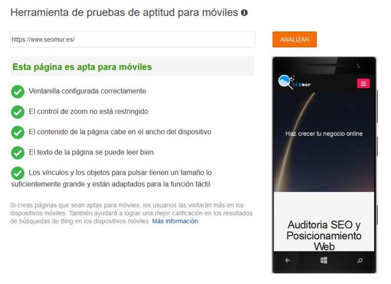 Optimización móviles Bing